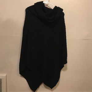 Knit turtleneck poncho
